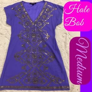 Hale Bob Purple Embellished Dress